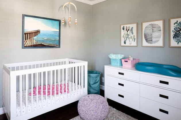 gray room ideas in nursery with white crib