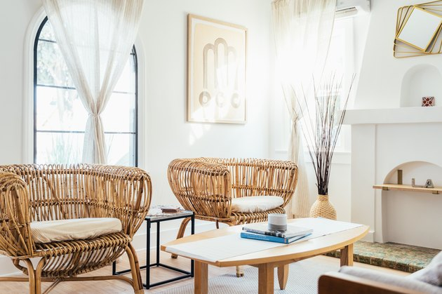 white room ideas with rattan chairs and white curtains
