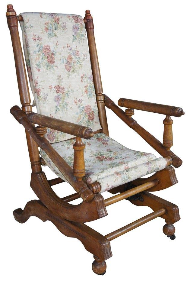Antique Victorian Platform Rocking Arm Chair, $467.50