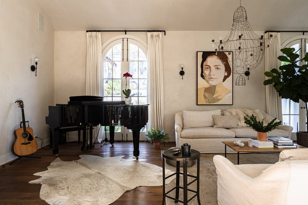 white room ideas with white couch and black piano