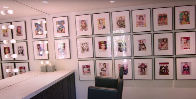 kendall jenner's glam room featuring her magazine covers