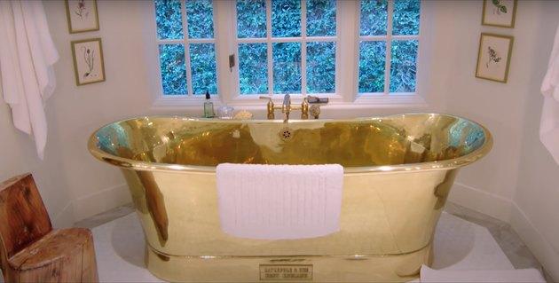 kendall jenner's gold bathtub in her master bedroom