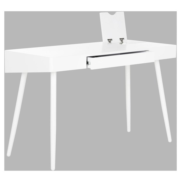Minimal white writing desk with invisible drawer and tablet mount