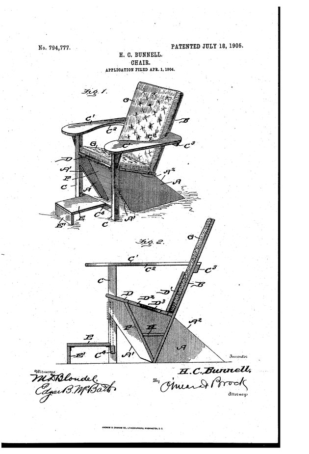 1905 Westport Adirondack chair patent