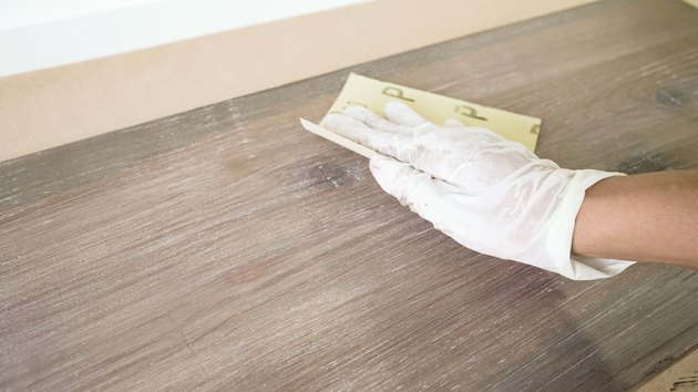 Sanding faux weathered wood finish