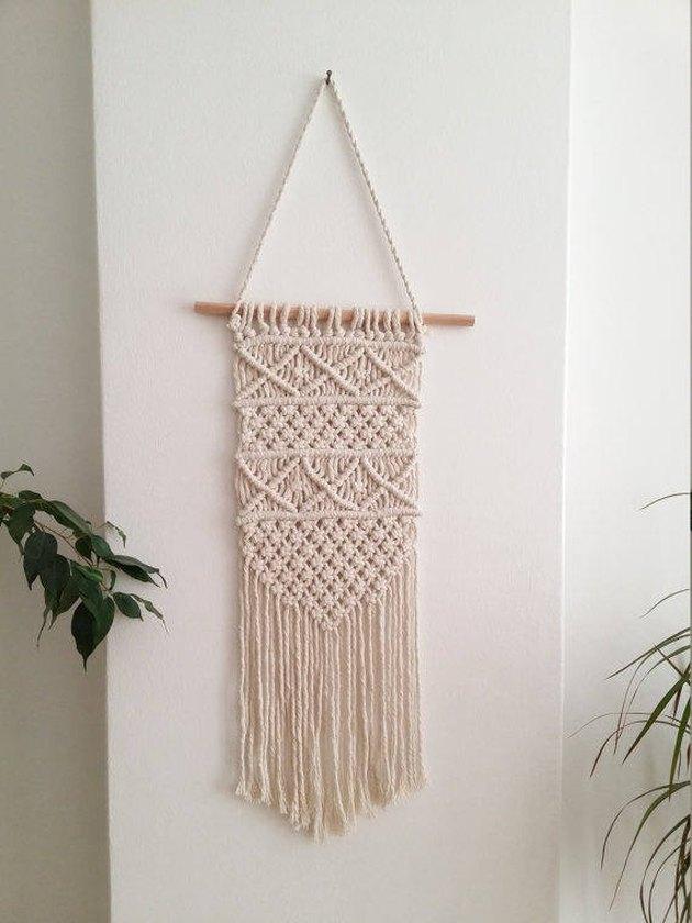 Simple cream macrame wall hanging
