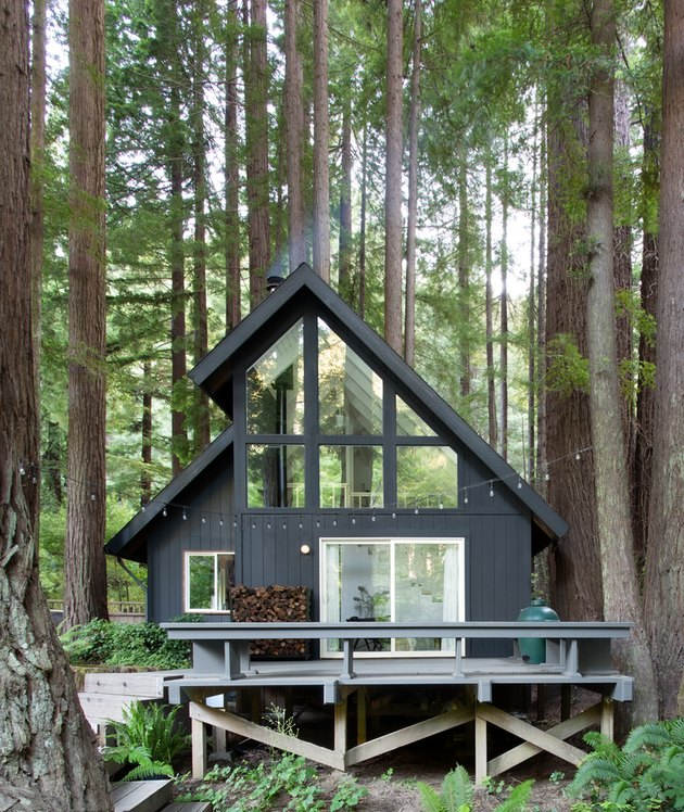 black modern cabin idea surrounded by woods