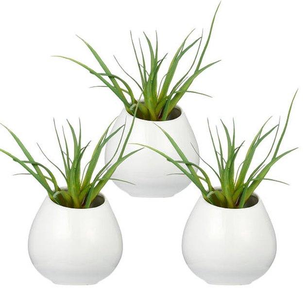 Three small white bulbous ceramic wall vases