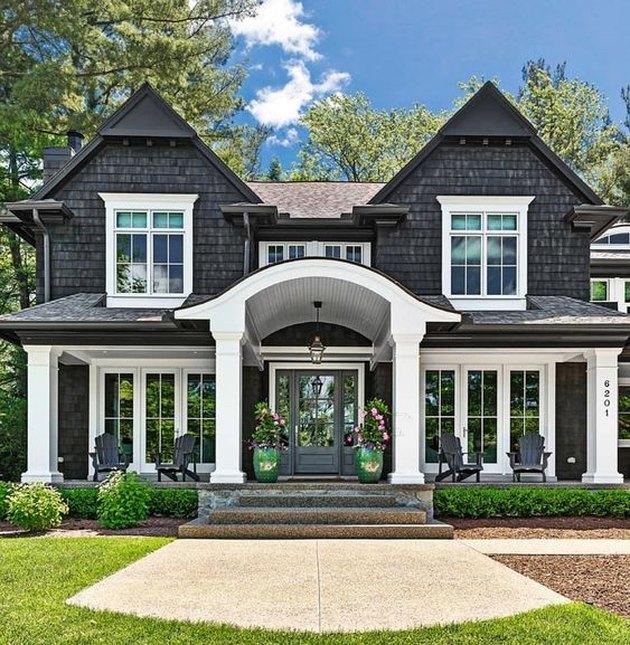 black home exterior with white trim