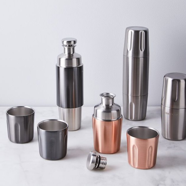 Silver and rose gold tumbler and flask set