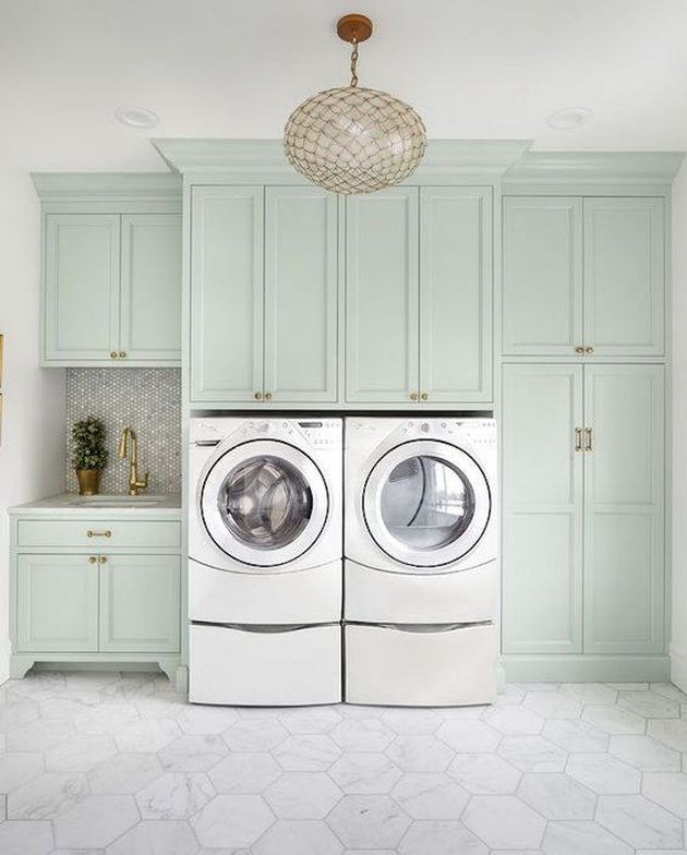 mint green laundry room