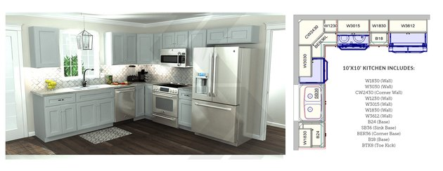 Kitchen cabinets and diagram.