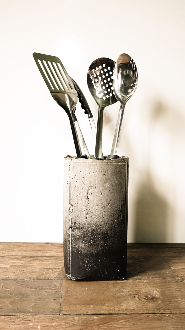DIY Industrial Concrete Kitchen Utensil Holder