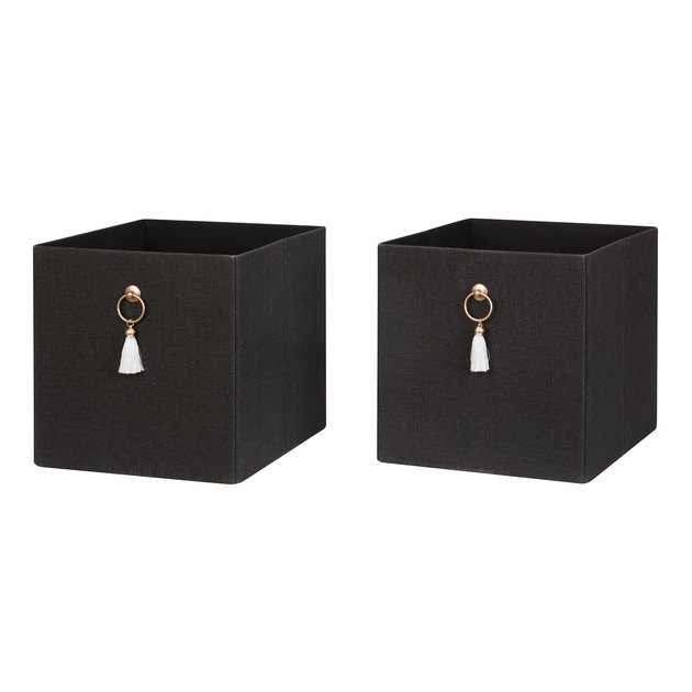 Better Homes & Gardens Fabric Storage Bin with Tassel, 2-Pack, $16.18