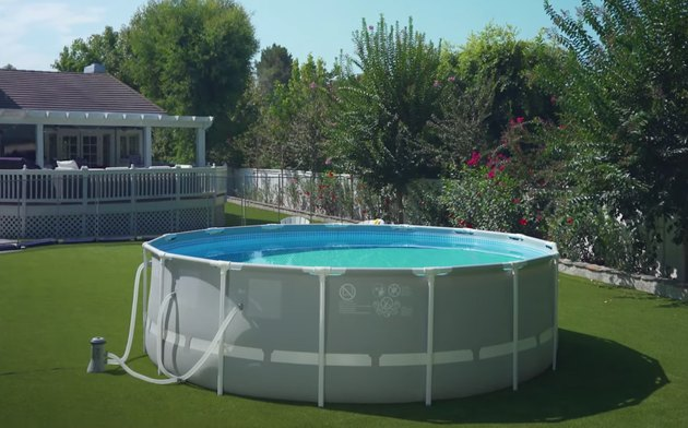 intex prism frame pool in backyard surrounded by fence and plants