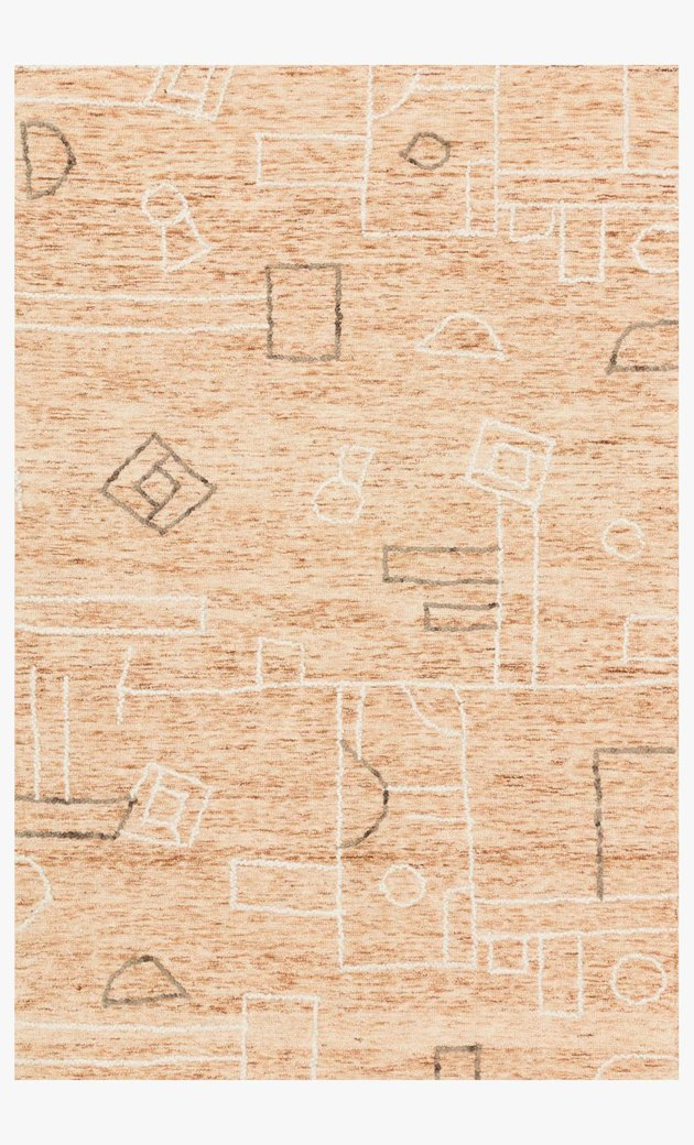 terracotta rug with doodles