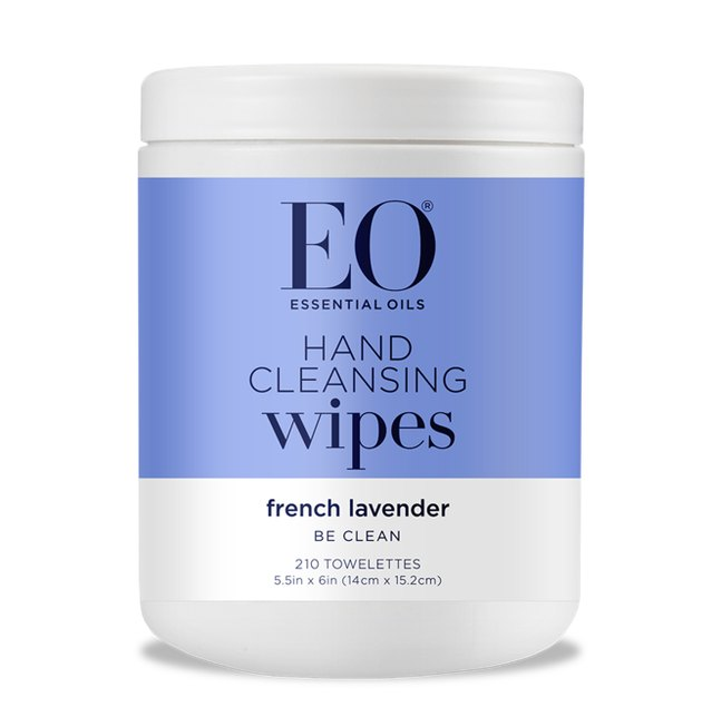 natural cleaning products EO Hand Cleansing Wipes in French Lavender