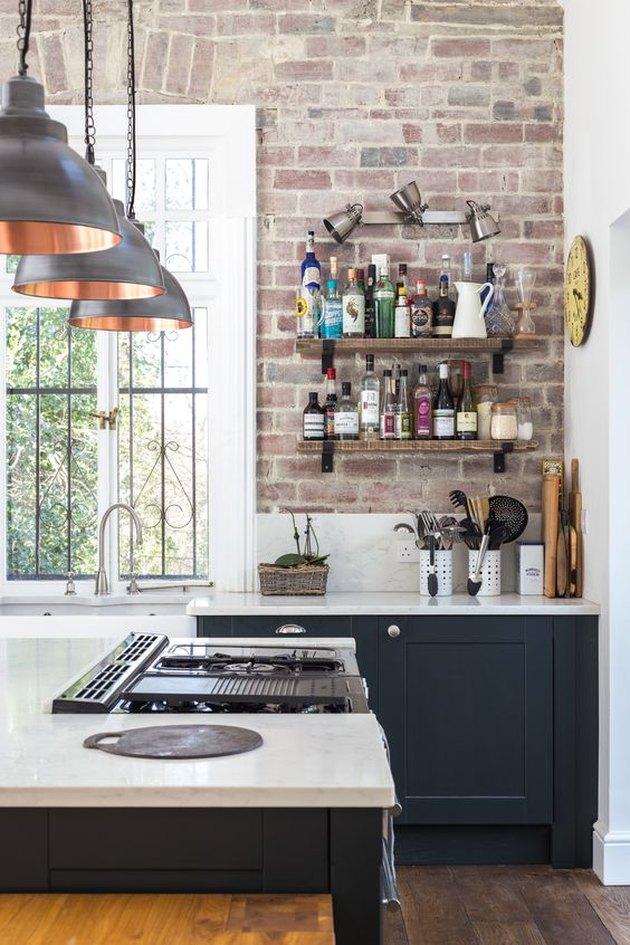 industrial kitchen backsplash idea with marble backsplash