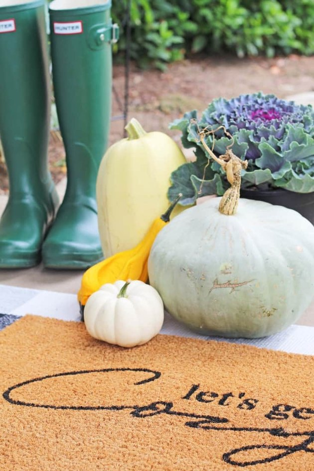 Let's Get Cozy fall doormat with pumpkins and green boots