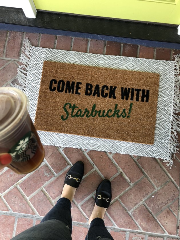 Come Back with Starbucks fall doormat with gray and white rug underneath