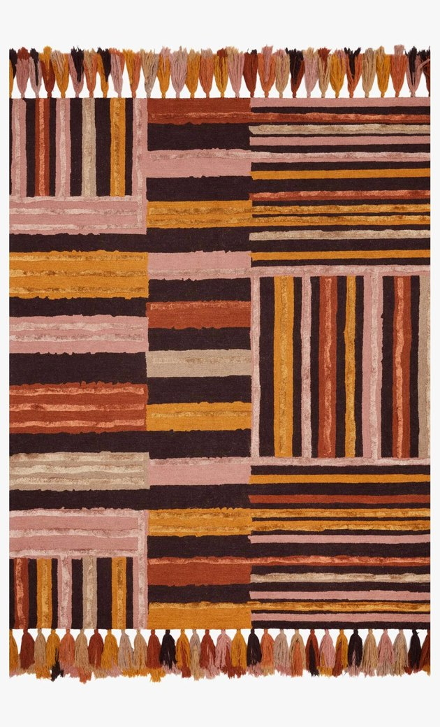 orange pink brown rug