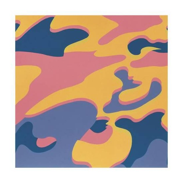 Reproduction of Andy Warhol's Camouflage, featuring blue, orange, and pink hues