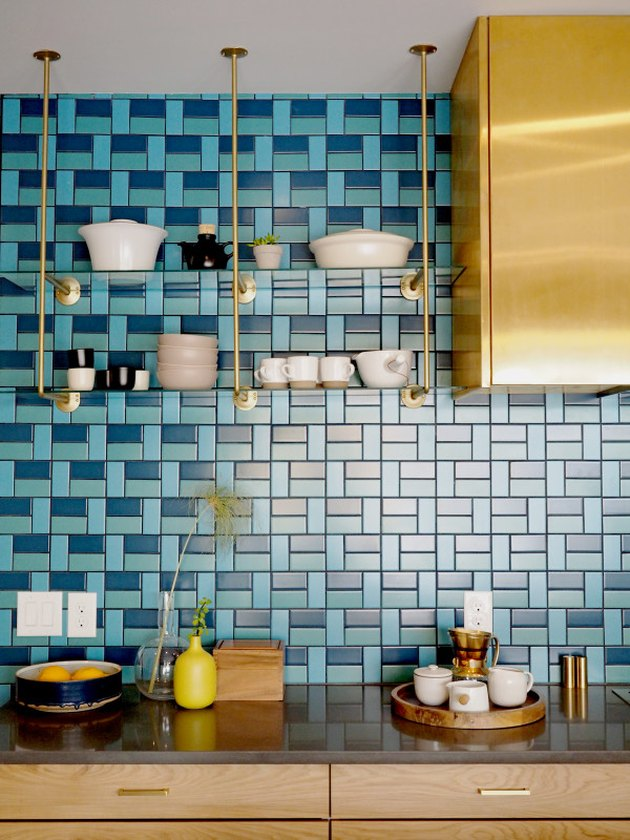 midcentury modern kitchen with blue backsplash
