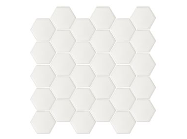 White matte hexagonal mosaic tile