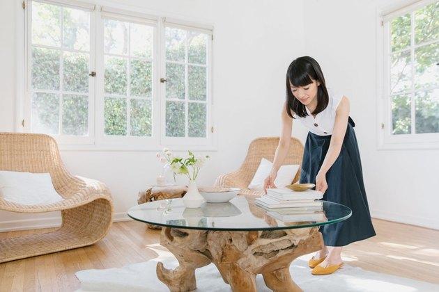 Marie Kondo in living room space
