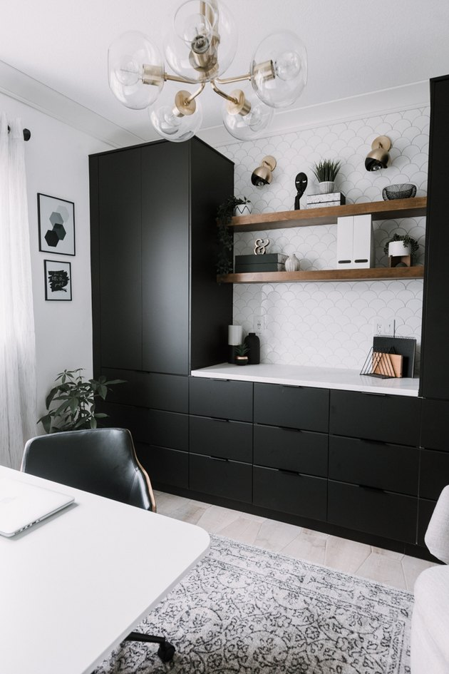 black and white home office cupboard with Home Office Storage Ideas