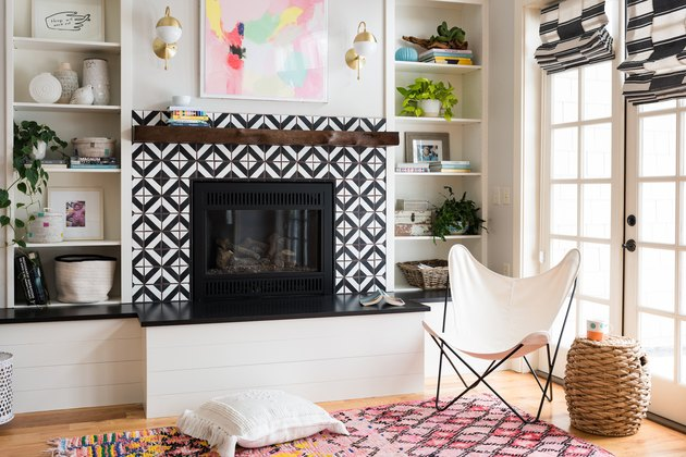 patterned tile fireplace surround