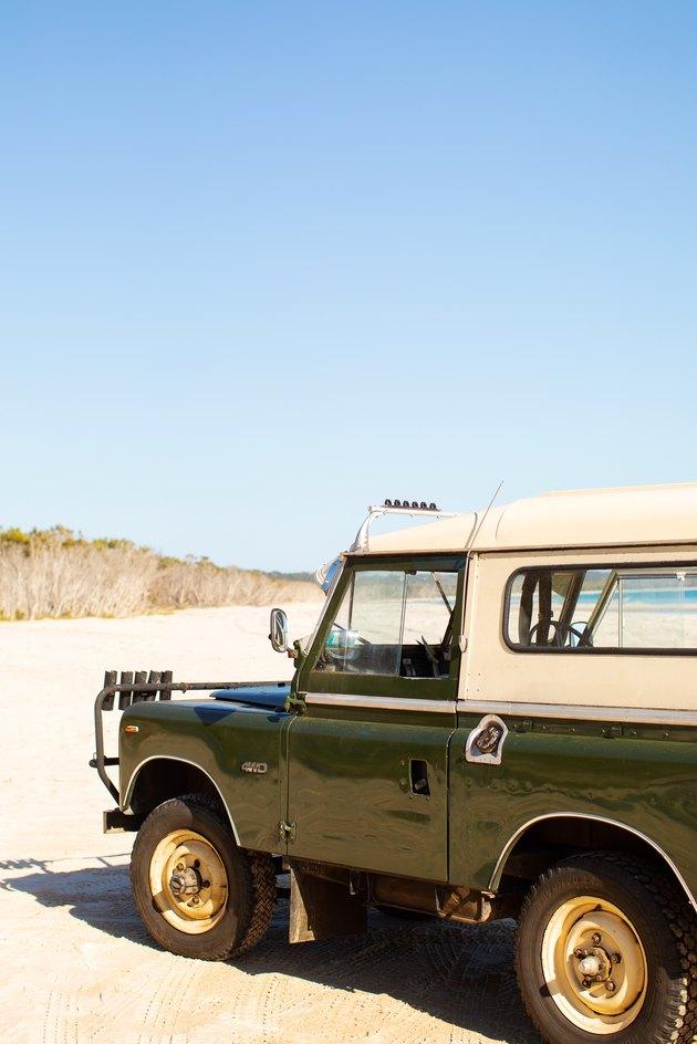 Kara Rosenlund car parked on beach