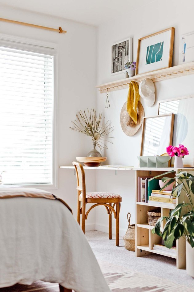 bedroom and office space with desk storage and peg rail  with Home Office Storage Ideas