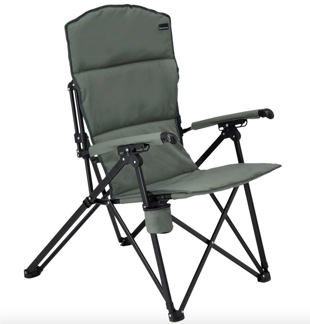 Woods Siesta Folding Reclining Padded Camping Chair in gunmetal