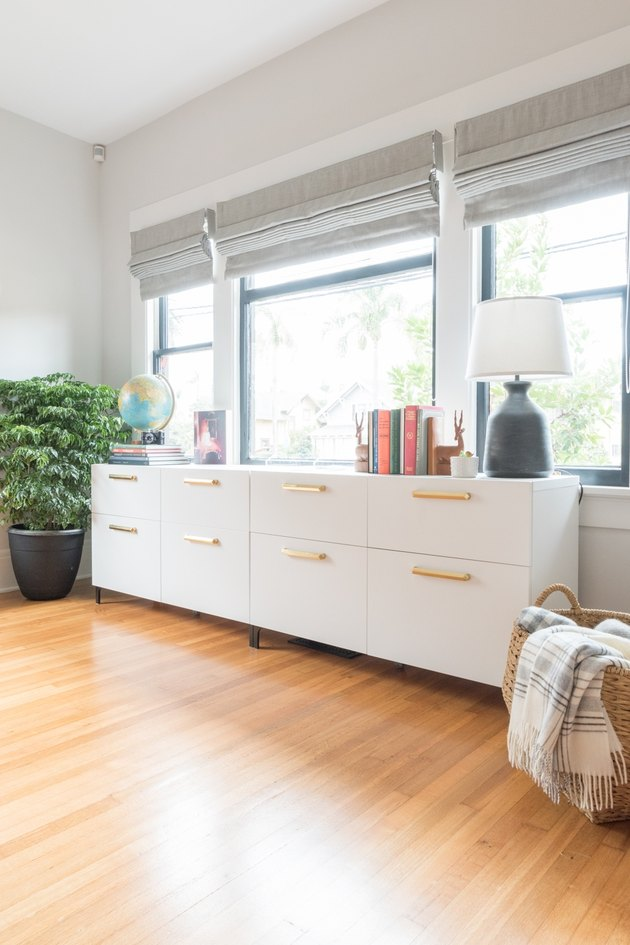 glam IKEA sideboard hack for office storage with Home Office Storage Ideas