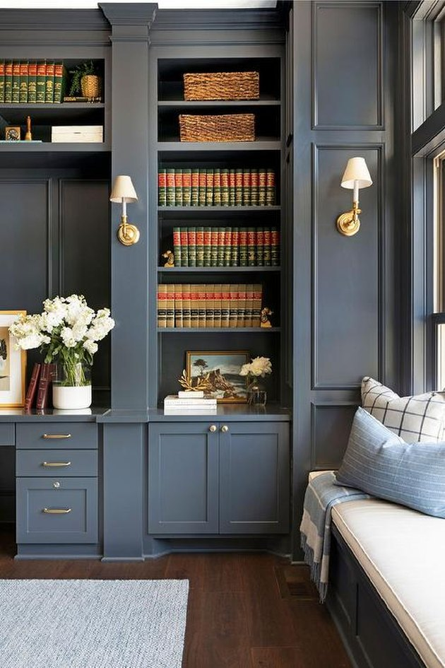 Built-in bookcases in a home office library by Bria Hammel Interiors