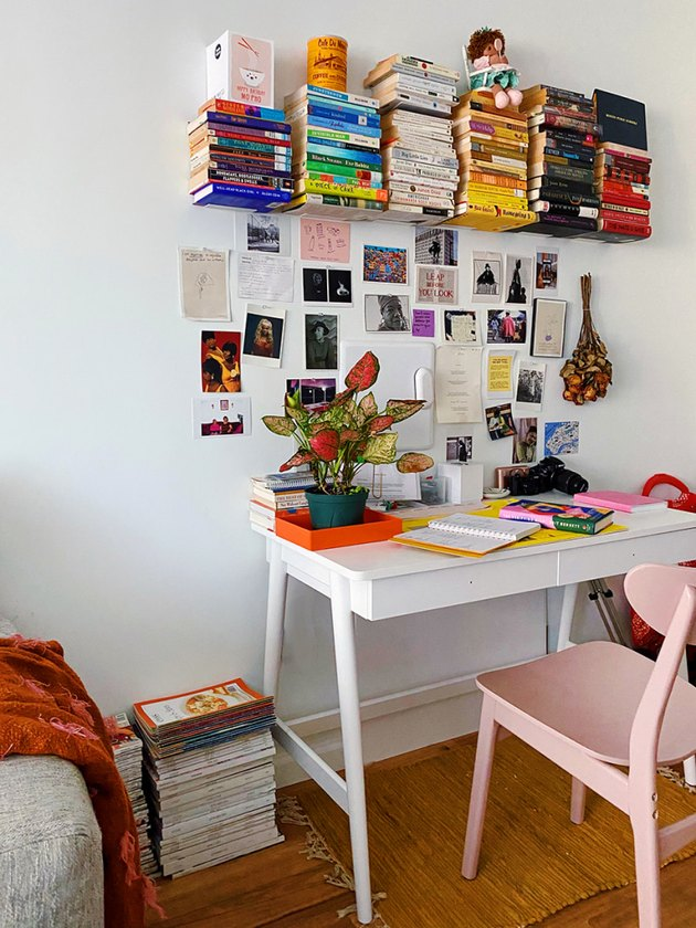 Floating color-coded home office library by Yaminah Mayo of blog Spicy Mayo