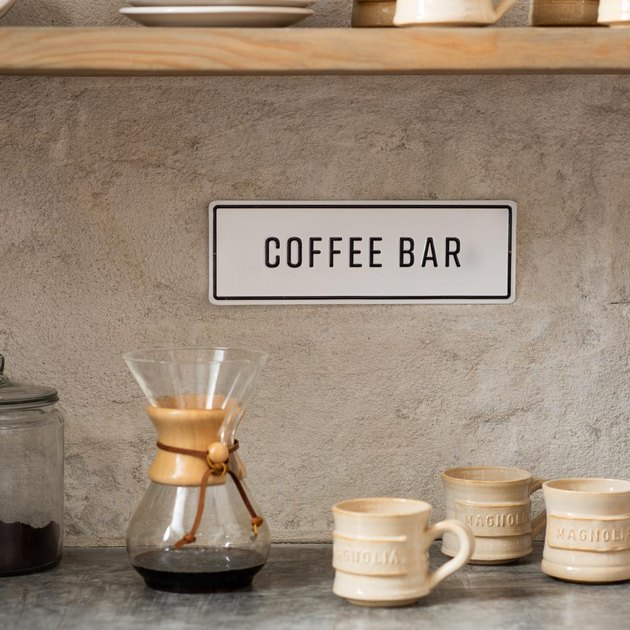coffee bar sign in kitchen space