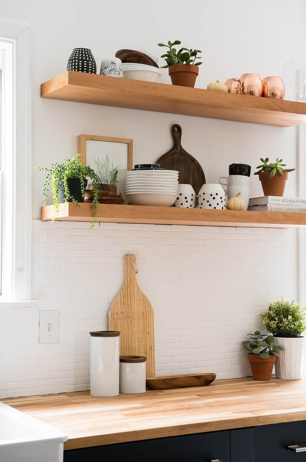 Wood kitchen countertop with wood open shelves