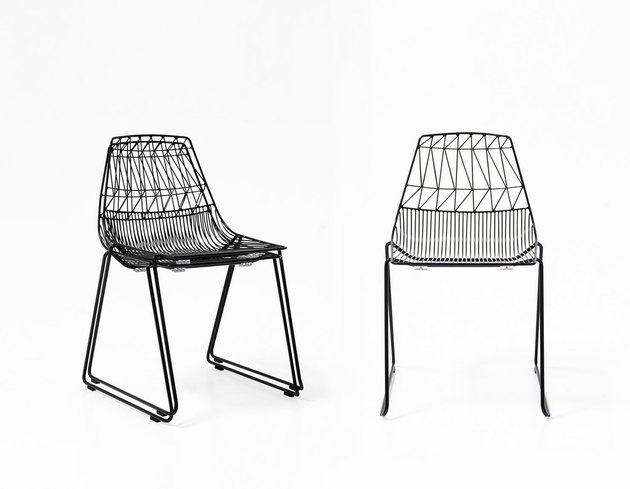 Airy black metal stacking chairs