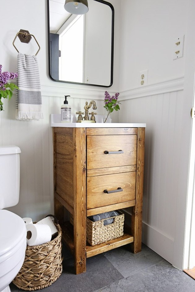 small bathroom idea with tiny vanity cabinet with drawers and bin for storage