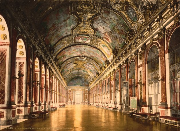 a print of the gallery of mirrors in Versailles, France