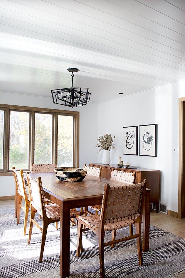 Midcentury dining room idea with walnut furniture