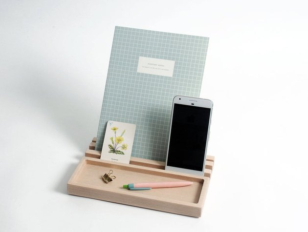 desk organizer with phone and notebook