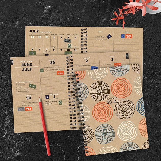 planner with red pencil