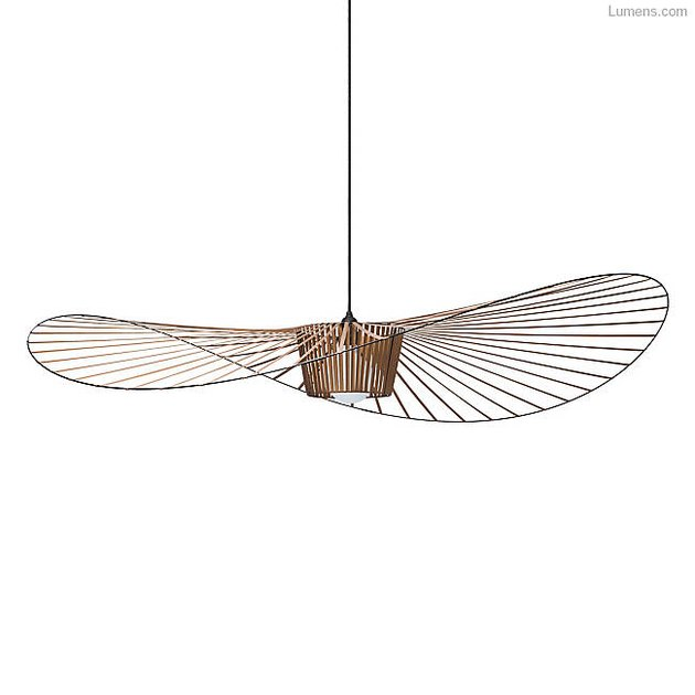 Large pendant light with sweeping lines and abundant spokes, with a silhouette that's akin to an oversized beach hat