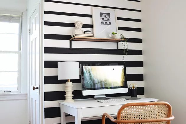 black and white office space with wall mural Home Office Ideas on a Budget