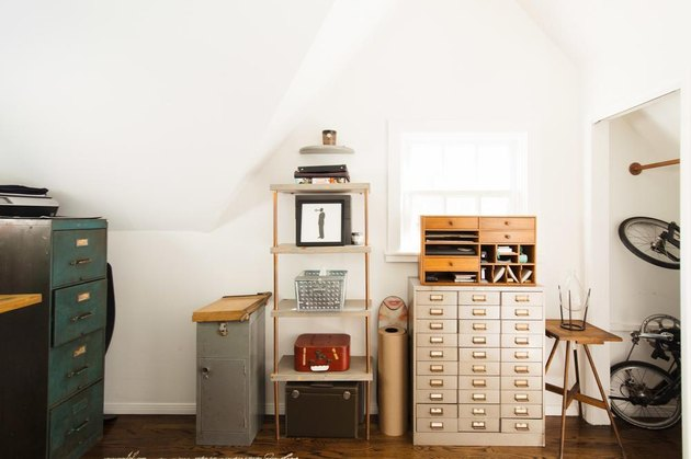 Home Office Style Ideas industrial home office with metal drawers and cabinets