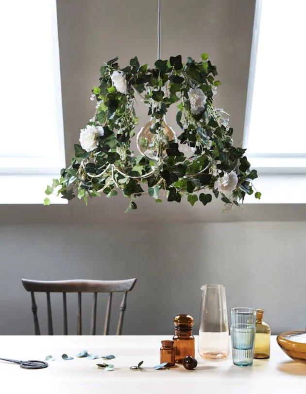 diy floral light fixture IKEA hack for wedding