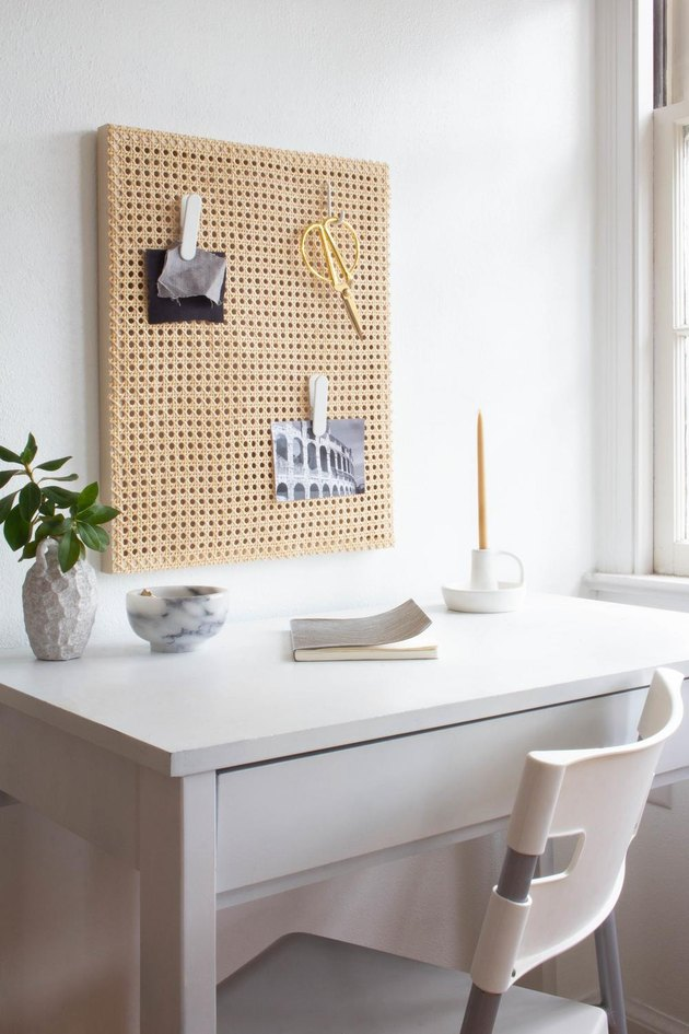 Home Office Style Ideas minimal white home office with DIY cane pegboard